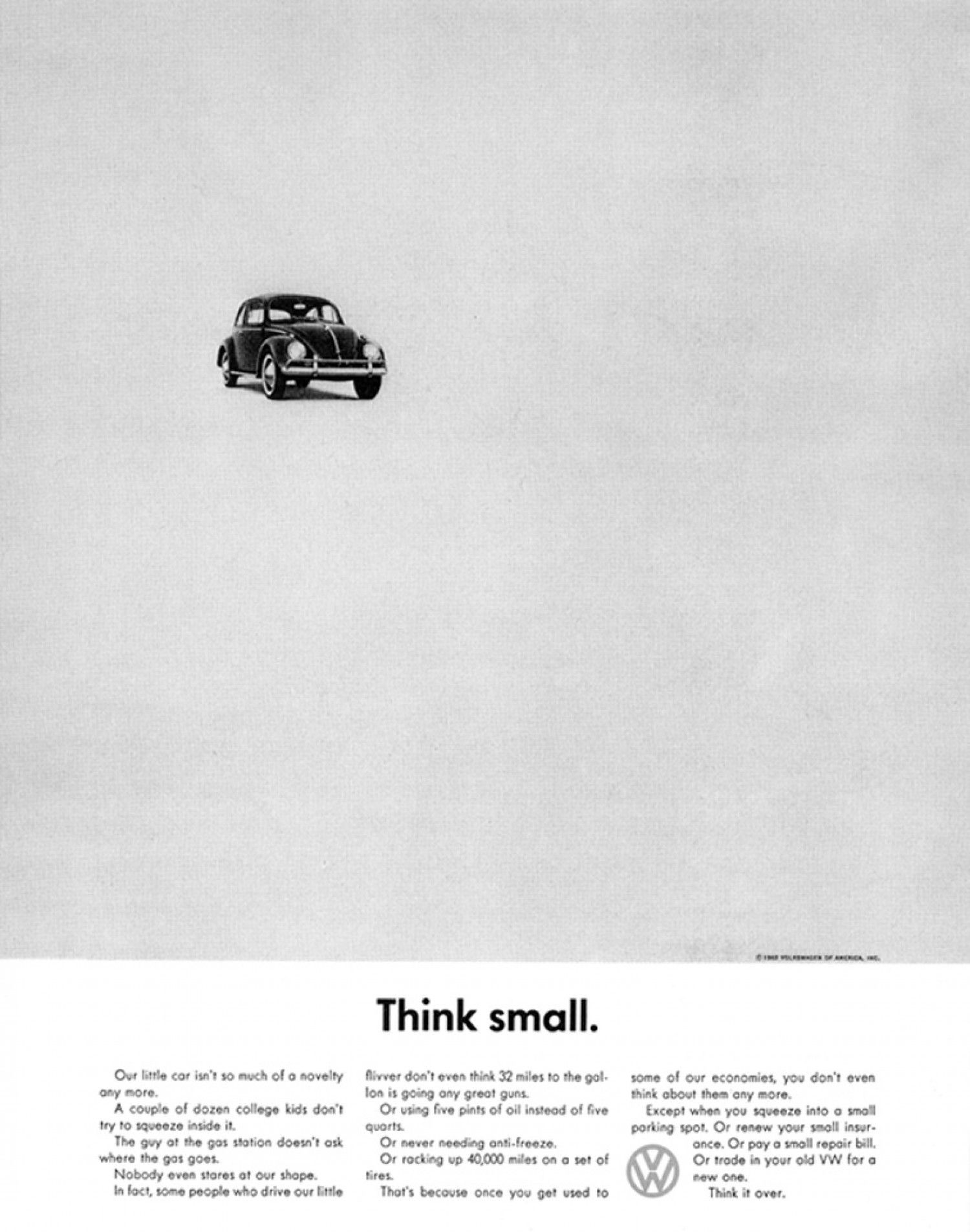 "A 1960 version of DDB's ""Think small"" ad, Volkswagen Beetle"